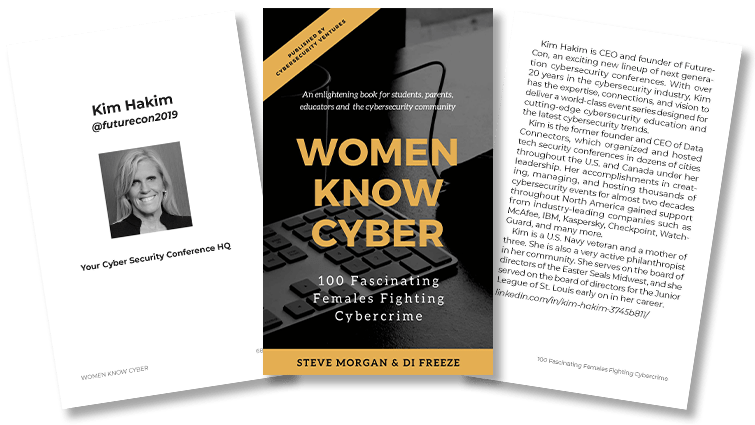 Women Know Cyber Book Cover and Kim Hakim Spread